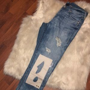 Cameron patched acid wash boyfriend TR jeans